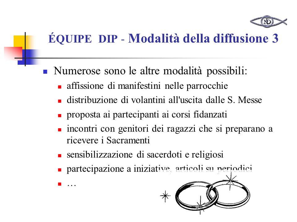 ÉQUIPE DIP - Modalità della diffusione 3 Numerose sono le altre modalità possibili: affissione di manifestini nelle parrocchie distribuzione di volantini all uscita dalle S.