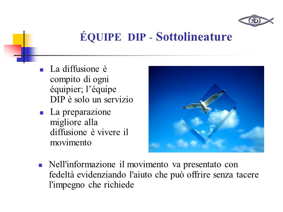ÉQUIPE DIP - Sottolineature La diffusione è compito di ogni équipier; léquipe DIP è solo un servizio La preparazione migliore alla diffusione è vivere