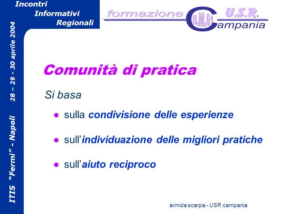 ITIS Fermi - Napoli 28 – 29 - 30 aprile 2004 Incontri Informativi Regionali armida scarpa - USR campania Comunità di pratica sulla condivisione delle esperienze sullindividuazione delle migliori pratiche sullaiuto reciproco Si basa