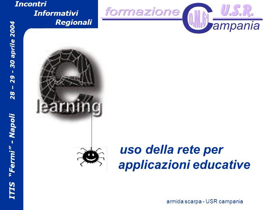 ITIS Fermi - Napoli 28 – 29 - 30 aprile 2004 Incontri Informativi Regionali armida scarpa - USR campania uso della rete per applicazioni educative