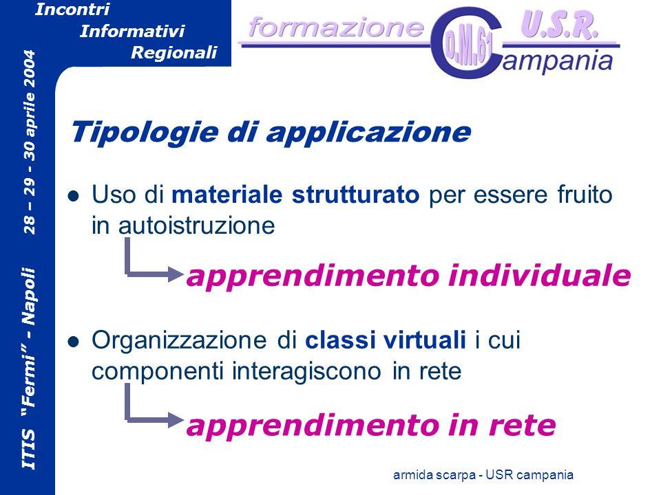 ITIS Fermi - Napoli 28 – 29 - 30 aprile 2004 Incontri Informativi Regionali armida scarpa - USR campania apprendimento individuale apprendimento in rete