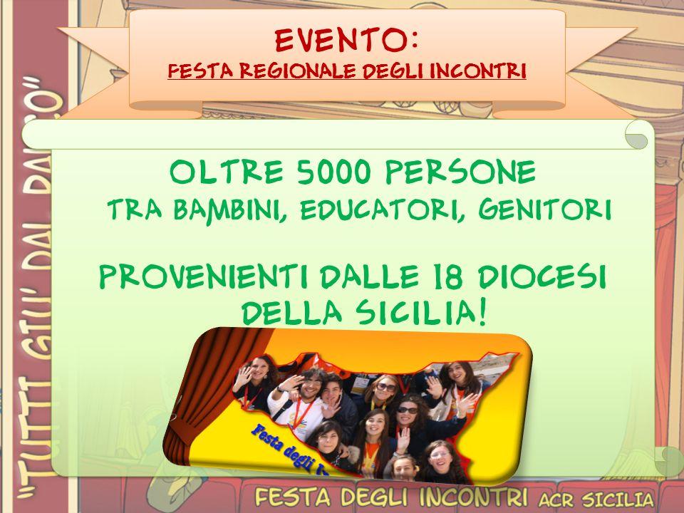 EVENTO: Festa regionale degli incontri OLTRE 5000 persone tra bambini, educatori, genitori provenienti dalle 18 diocesi della SICILIA.