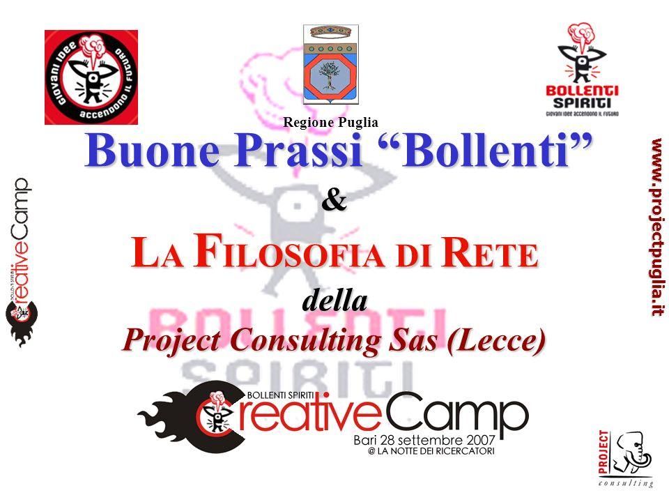 www.projectpuglia.it Buone Prassi Bollenti & L A F ILOSOFIA DI R ETE della Project Consulting Sas (Lecce) Buone Prassi Bollenti & L A F ILOSOFIA DI R ETE della Project Consulting Sas (Lecce) Regione Puglia