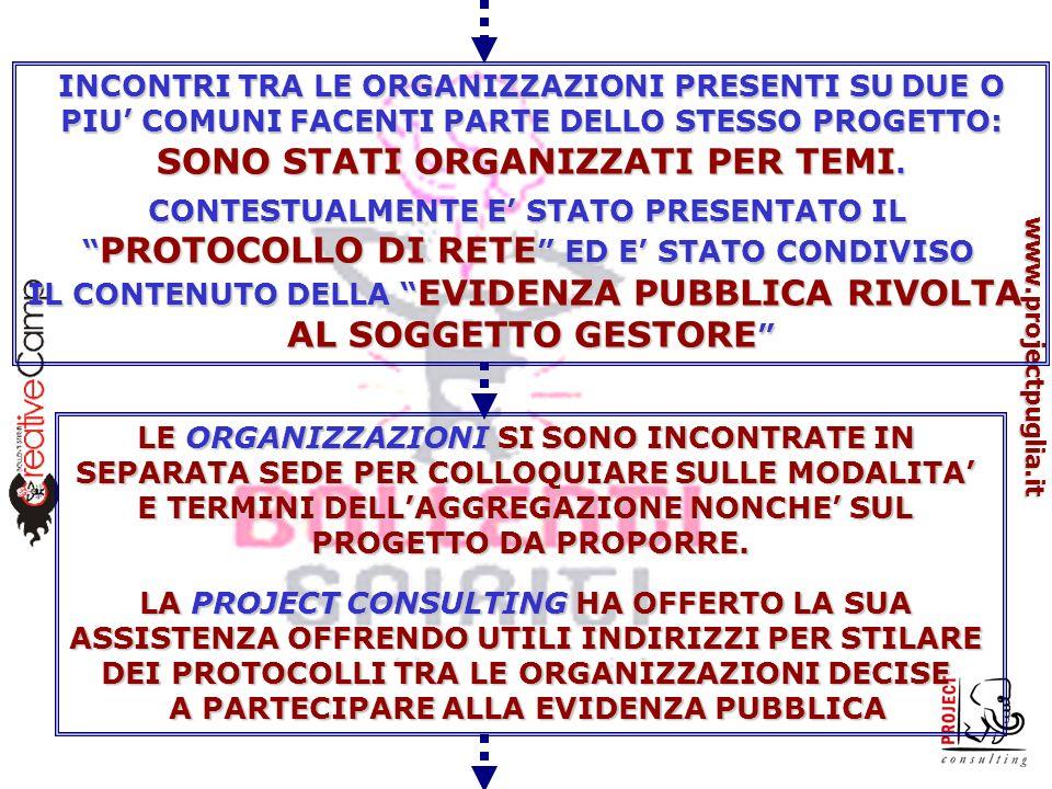 www.projectpuglia.it INCONTRI TRA LE ORGANIZZAZIONI PRESENTI SU DUE O PIU COMUNI FACENTI PARTE DELLO STESSO PROGETTO: SONO STATI ORGANIZZATI PER TEMI.