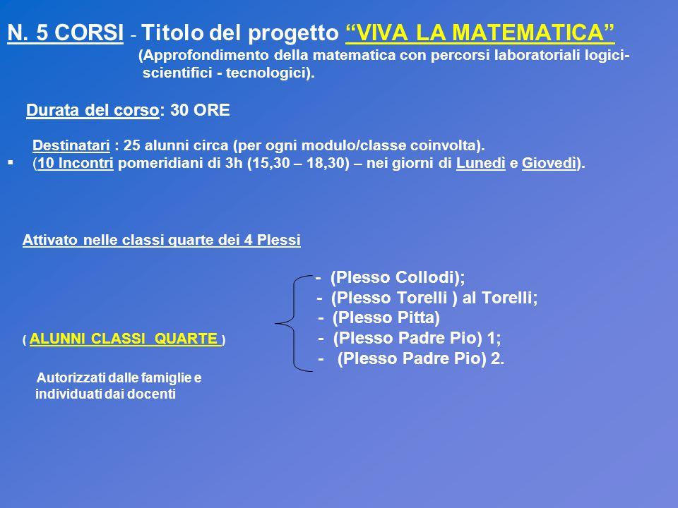 N. 5 CORSI - Titolo del progetto VIVA LA MATEMATICA (Approfondimento della matematica con percorsi laboratoriali logici- scientifici - tecnologici). D