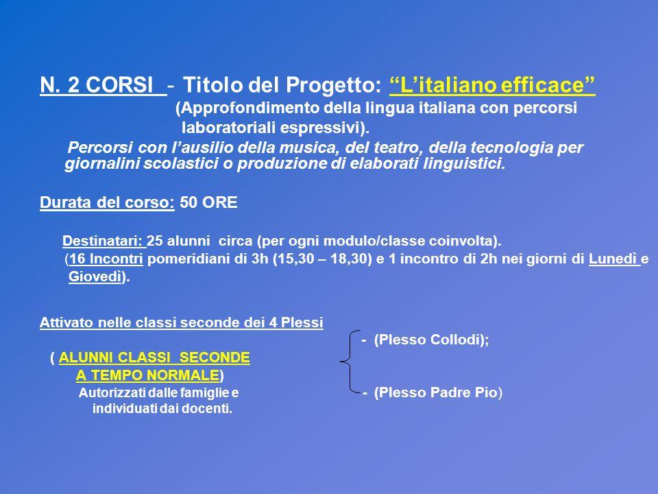 N. 2 CORSI - Titolo del Progetto: Litaliano efficace (Approfondimento della lingua italiana con percorsi laboratoriali espressivi). Percorsi con lausi