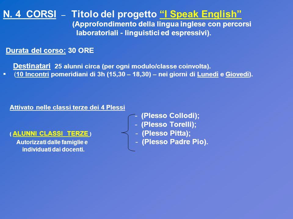 N. 4 CORSI – Titolo del progetto I Speak English (Approfondimento della lingua inglese con percorsi laboratoriali - linguistici ed espressivi). Durata
