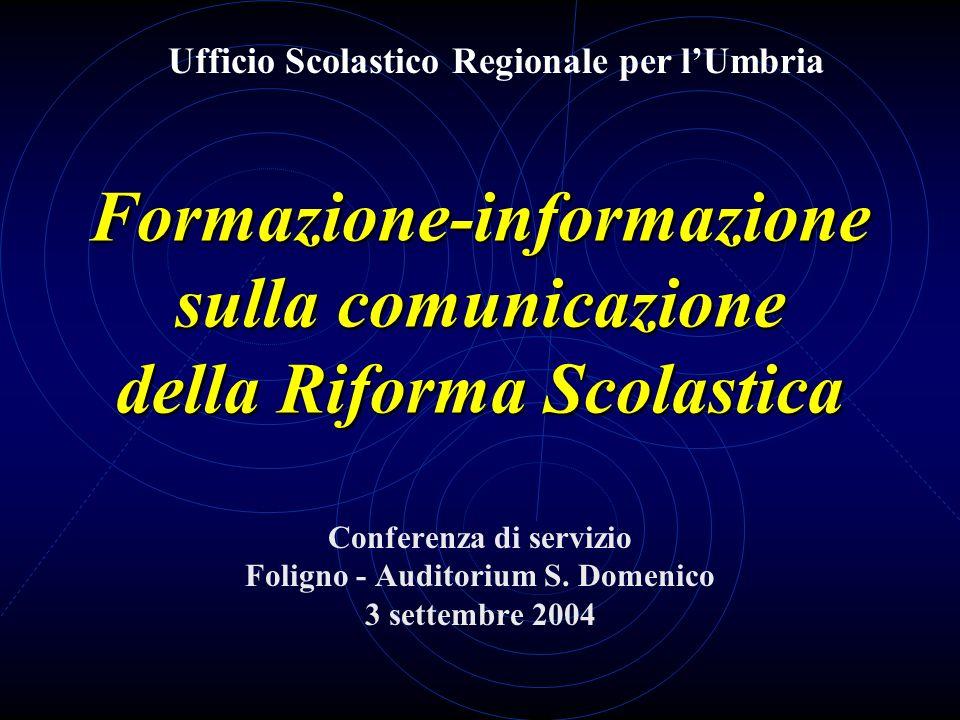 Formazione-informazione sulla comunicazione della Riforma Scolastica Conferenza di servizio Foligno - Auditorium S. Domenico 3 settembre 2004 Ufficio