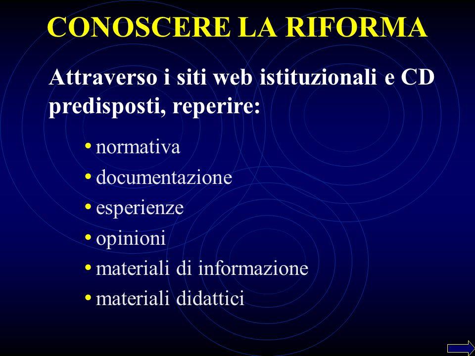 normativa documentazione esperienze opinioni materiali di informazione materiali didattici CONOSCERE LA RIFORMA Attraverso i siti web istituzionali e CD predisposti, reperire: