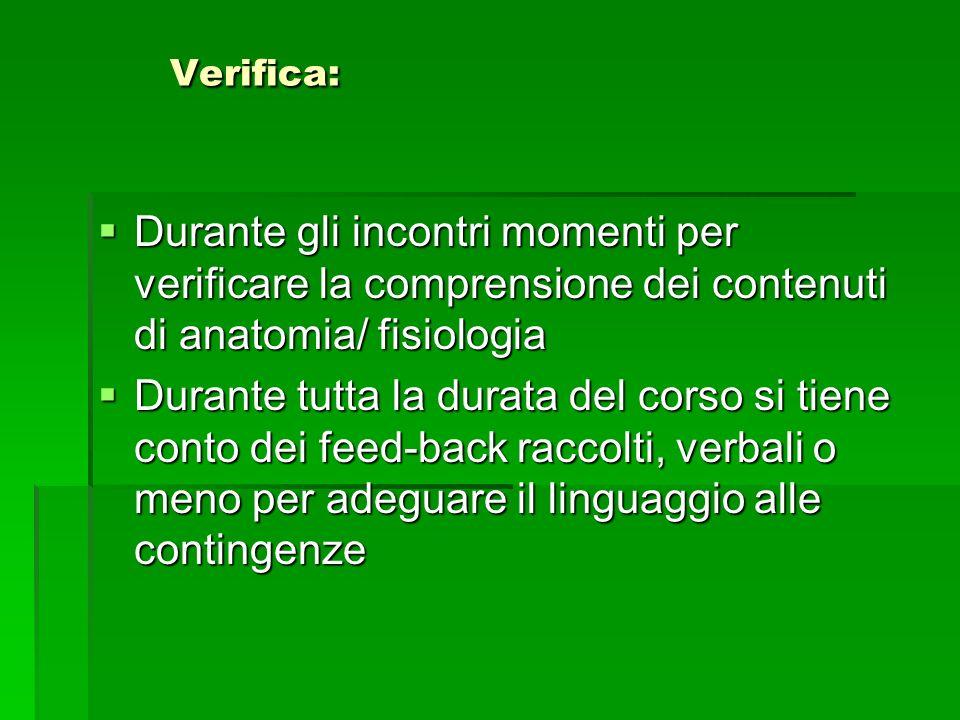 Verifica: Verifica: Durante gli incontri momenti per verificare la comprensione dei contenuti di anatomia/ fisiologia Durante gli incontri momenti per