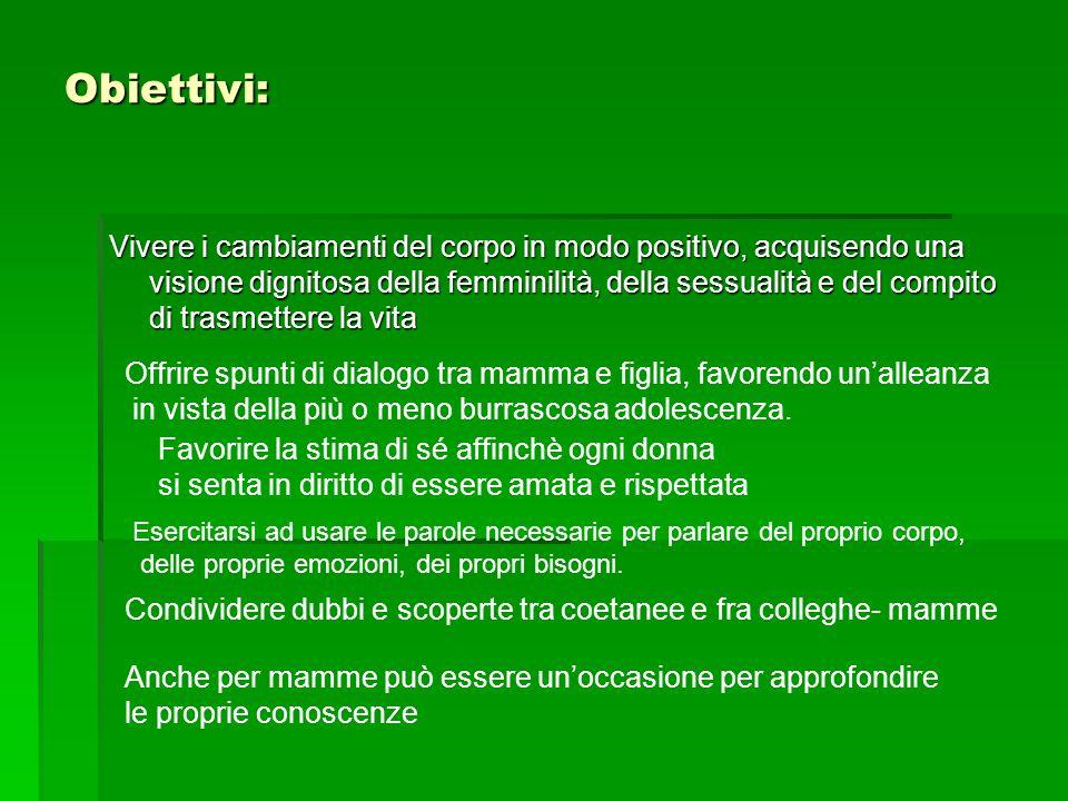 Obiettivi: Vivere i cambiamenti del corpo in modo positivo, acquisendo una visione dignitosa della femminilità, della sessualità e del compito di tras