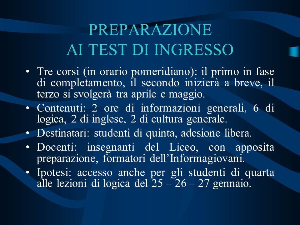 PREPARAZIONE AI TEST DI INGRESSO Tre corsi (in orario pomeridiano): il primo in fase di completamento, il secondo inizierà a breve, il terzo si svolge