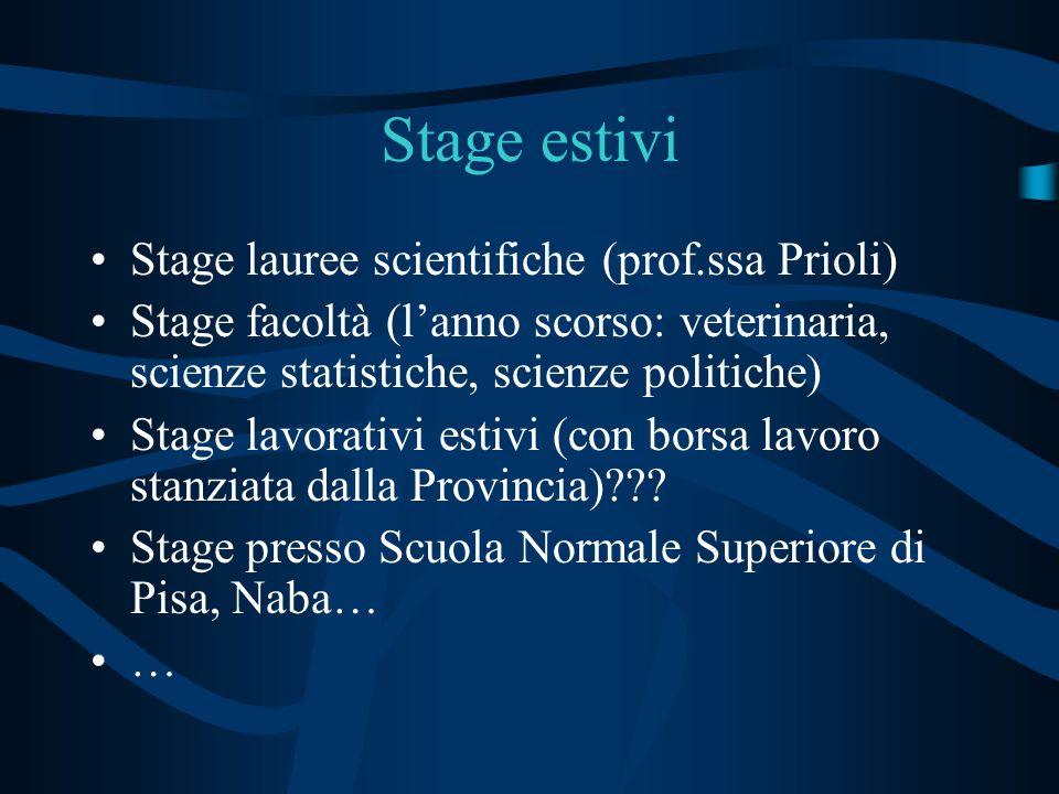 Stage estivi Stage lauree scientifiche (prof.ssa Prioli) Stage facoltà (lanno scorso: veterinaria, scienze statistiche, scienze politiche) Stage lavor