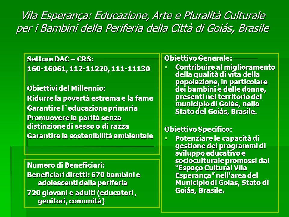 Obiettivo Generale: Contribuire al miglioramento della qualità di vita della popolazione, in particolare dei bambini e delle donne, presenti nel territorio del municipio di Goiás, nello Stato del Goiás, Brasile.