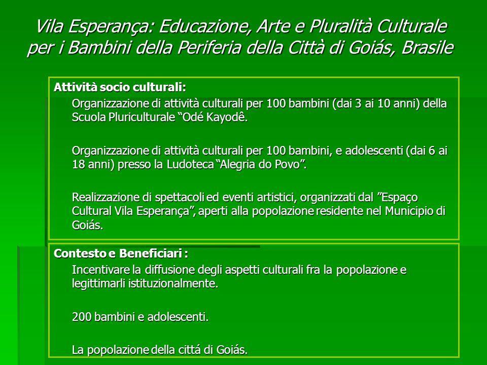 Contesto e Beneficiari : Incentivare la diffusione degli aspetti culturali fra la popolazione e legittimarli istituzionalmente.