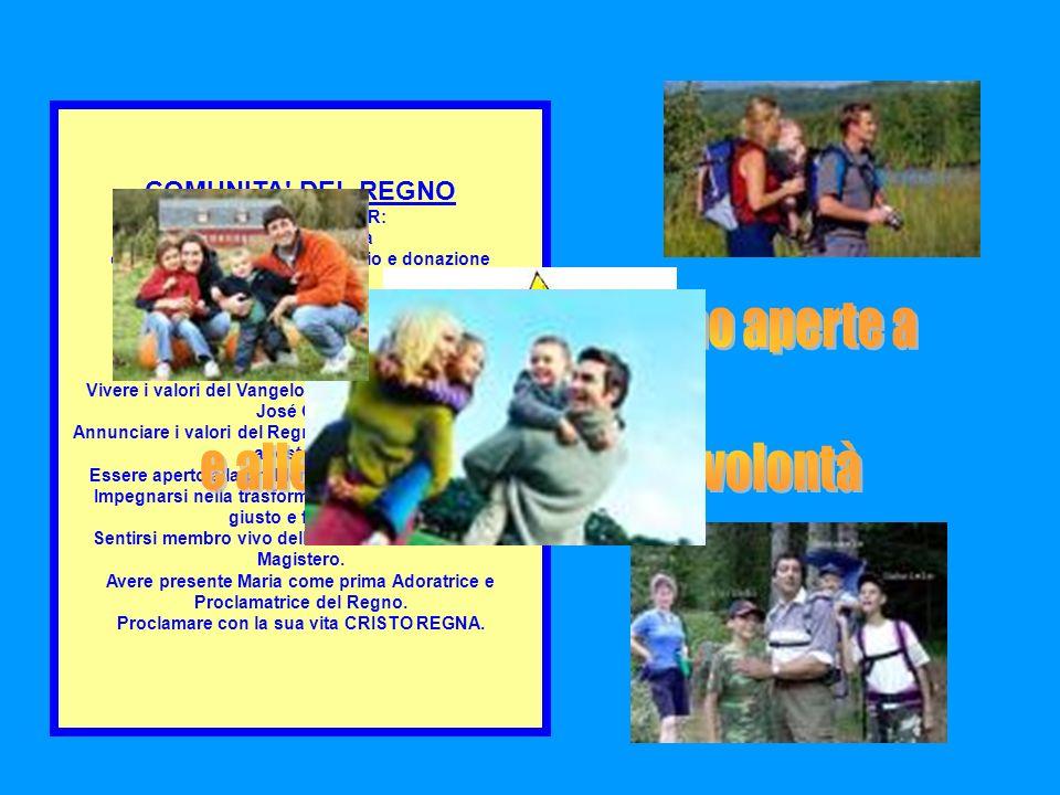 COMUNITA' DEL REGNO SI DISTINGUE PER: spirito di famiglia capacità di accoglienza, servizio e donazione gioia e serenità visione positiva della vita s