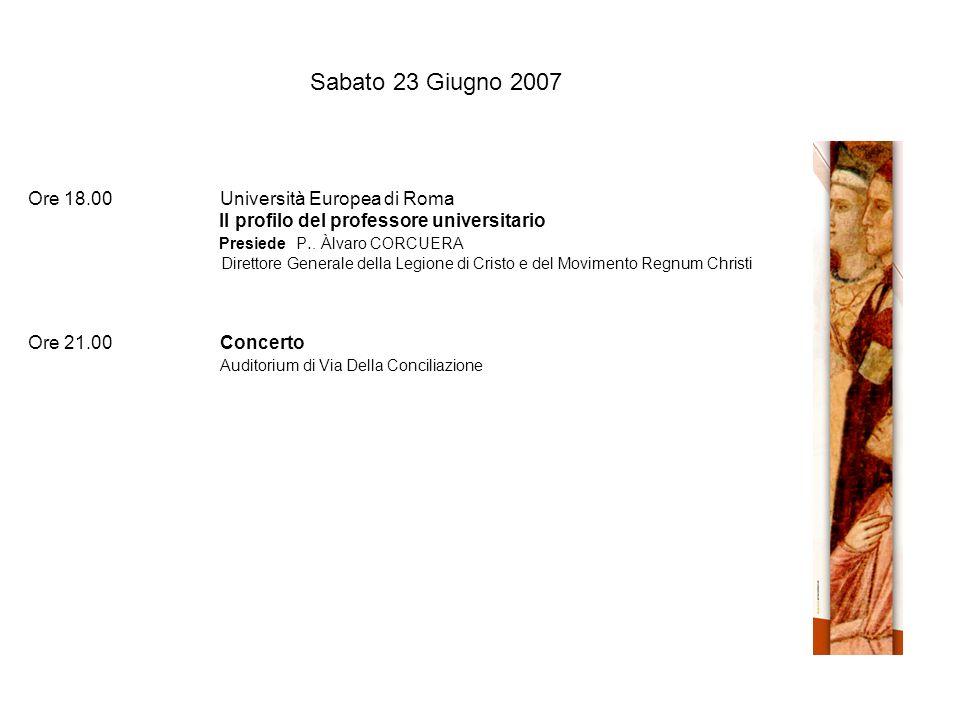Sabato 23 Giugno 2007 Ore 18.00Università Europea di Roma Il profilo del professore universitario Presiede P..