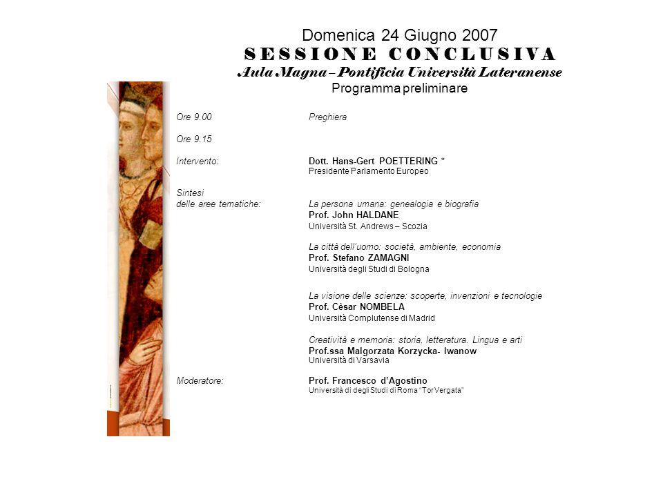 Domenica 24 Giugno 2007 S E S S I O N E C O N C L U S I V A Aula Magna – Pontificia Università Lateranense Programma preliminare Ore 9.00Preghiera Ore 9.15 Intervento: Dott.