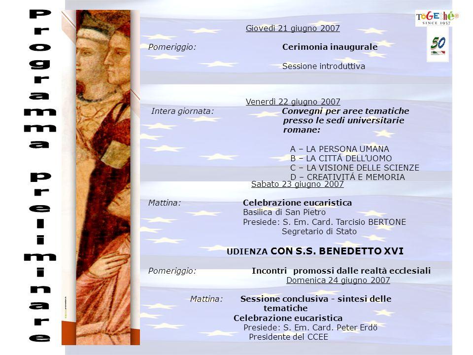 Giovedì 21 giugno 2007 Pomeriggio: Cerimonia inaugurale Sessione introduttiva Venerdì 22 giugno 2007 Intera giornata: Convegni per aree tematiche presso le sedi universitarie romane: A – LA PERSONA UMANA B – LA CITTÁ DELLUOMO C – LA VISIONE DELLE SCIENZE D – CREATIVITÁ E MEMORIA Sabato 23 giugno 2007 Mattina: Celebrazione eucaristica Basilica di San Pietro Presiede: S.
