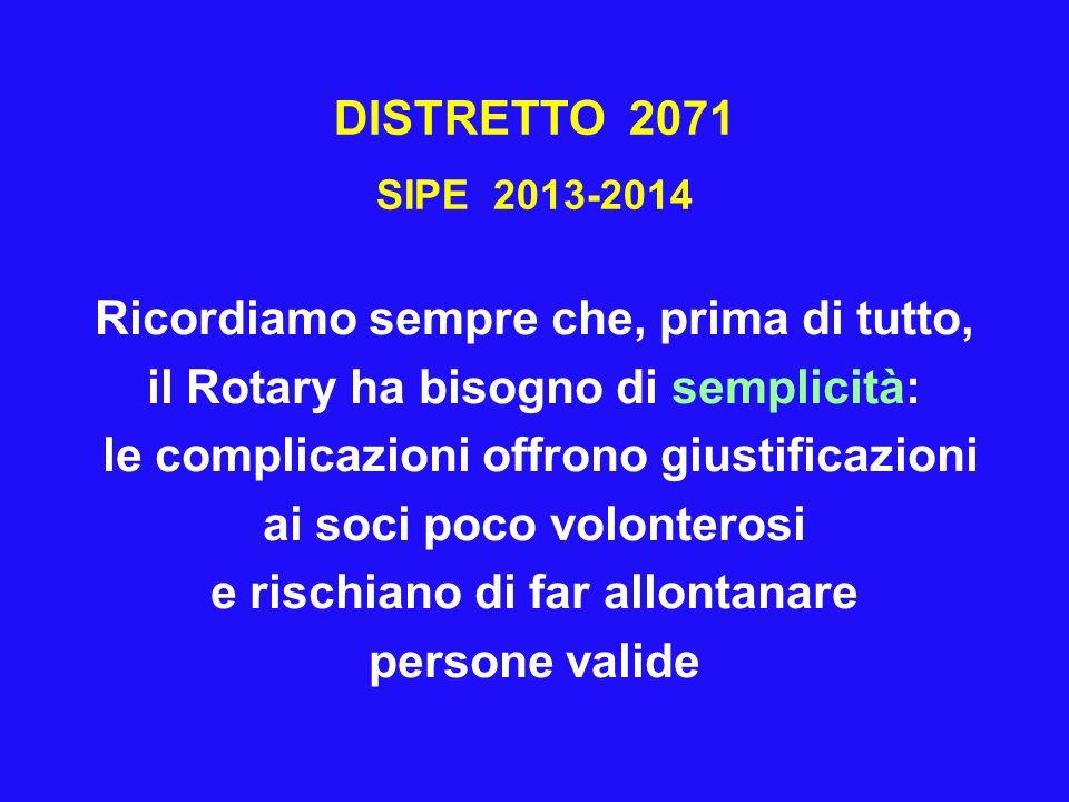 DISTRETTO 2071 SIPE 2013-2014 Ricordiamo sempre che, prima di tutto, il Rotary ha bisogno di semplicità: le complicazioni offrono giustificazioni ai s