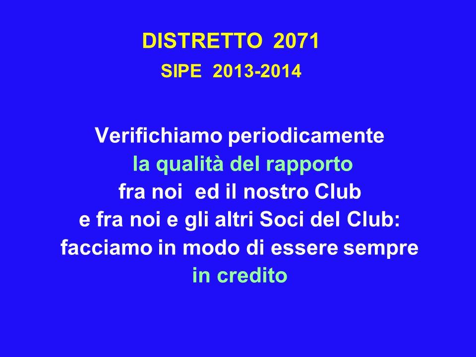 DISTRETTO 2071 SIPE 2013-2014 Verifichiamo periodicamente la qualità del rapporto fra noi ed il nostro Club e fra noi e gli altri Soci del Club: facci