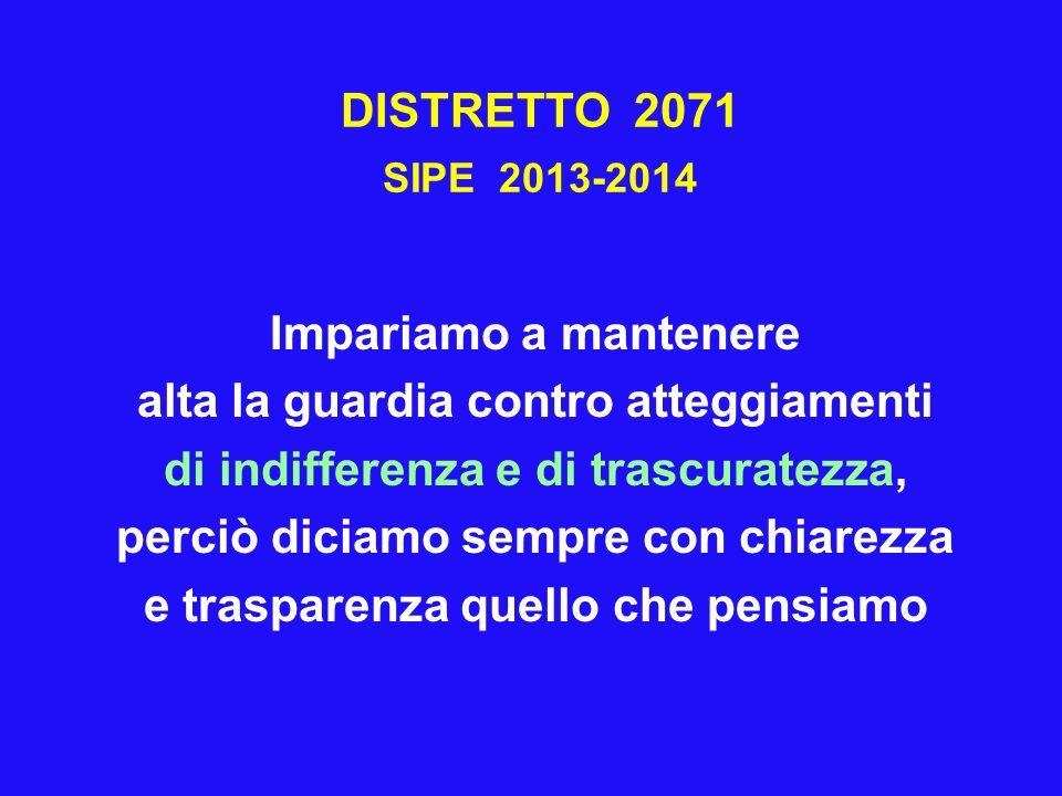 DISTRETTO 2071 SIPE 2013-2014 Impariamo a mantenere alta la guardia contro atteggiamenti di indifferenza e di trascuratezza, perciò diciamo sempre con