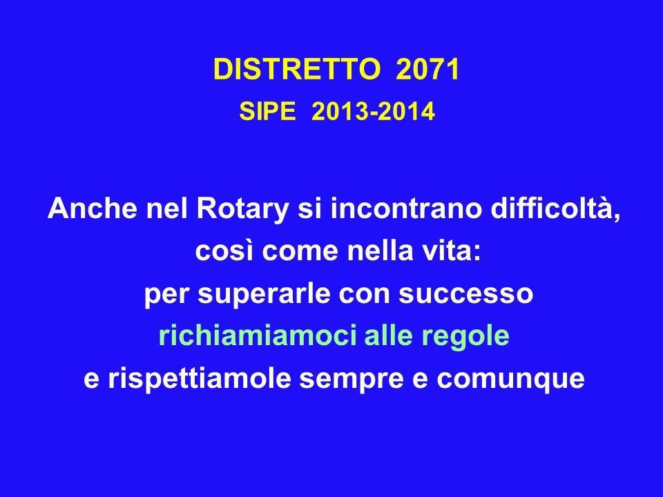 DISTRETTO 2071 SIPE 2013-2014 Anche nel Rotary si incontrano difficoltà, così come nella vita: per superarle con successo richiamiamoci alle regole e