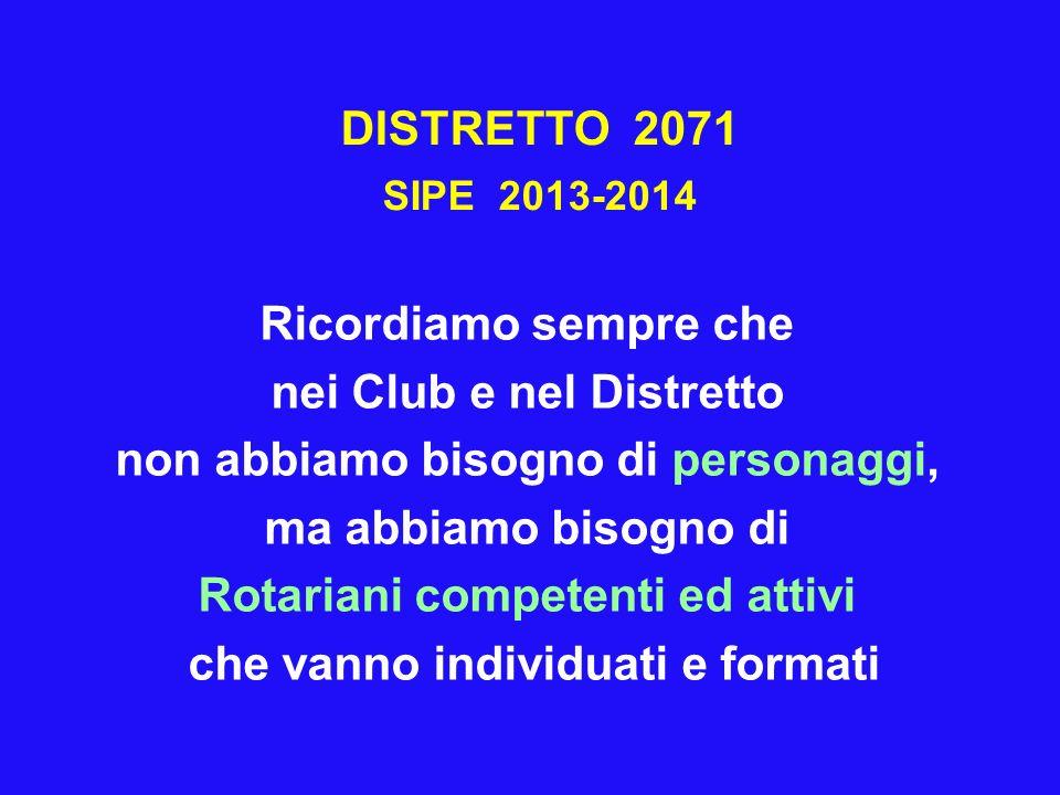 DISTRETTO 2071 SIPE 2013-2014 Ricordiamo sempre che nei Club e nel Distretto non abbiamo bisogno di personaggi, ma abbiamo bisogno di Rotariani compet