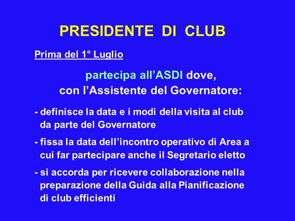 PRESIDENTE DI CLUB Prima del 1° Luglio partecipa allASDI dove, con lAssistente del Governatore: - definisce la data e i modi della visita al club da p