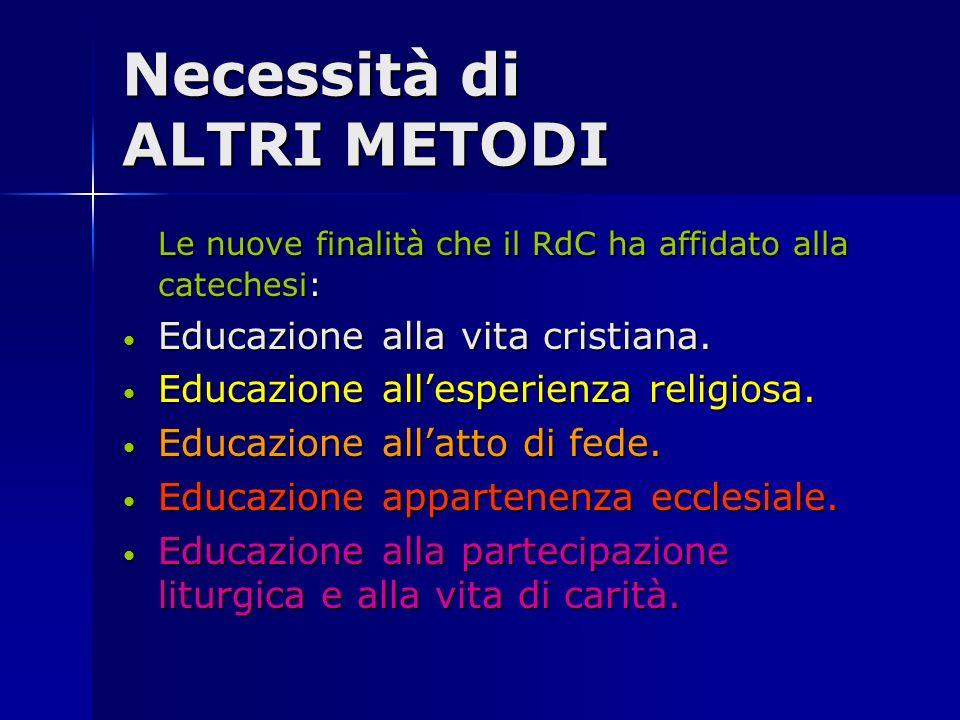 Necessità di ALTRI METODI Le nuove finalità che il RdC ha affidato alla catechesi: Educazione alla vita cristiana. Educazione alla vita cristiana. Edu