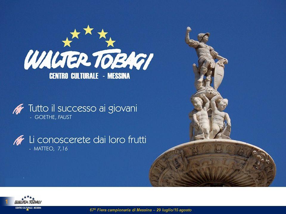 2 LAssociazione ll Centro Culturale Walter Tobagi ll Centro Culturale Walter Tobagi promuove la crescita sociale, culturale e politica, nellambito della provincia di Messina, tendendo ad allargare le proprie esperienze a spazi di più ampia penetrabilità.