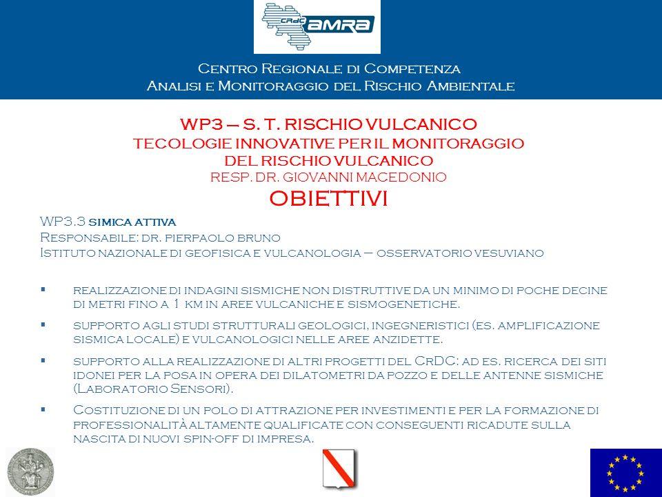 Centro Regionale di Competenza Analisi e Monitoraggio del Rischio Ambientale WP3 – S. T. RISCHIO VULCANICO TECOLOGIE INNOVATIVE PER IL MONITORAGGIO DE