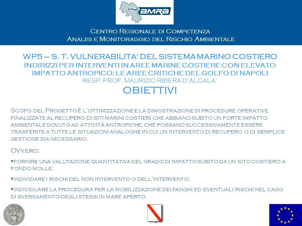 Centro Regionale di Competenza Analisi e Monitoraggio del Rischio Ambientale WP5 – S. T. VULNERABILITA DEL SISTEMA MARINO COSTIERO INDIRIZZI PER INTER