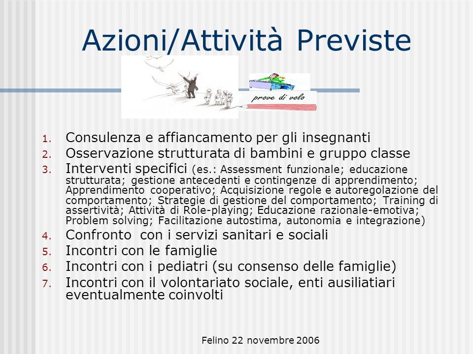 Felino 22 novembre 2006 Azioni/Attività Previste 1.