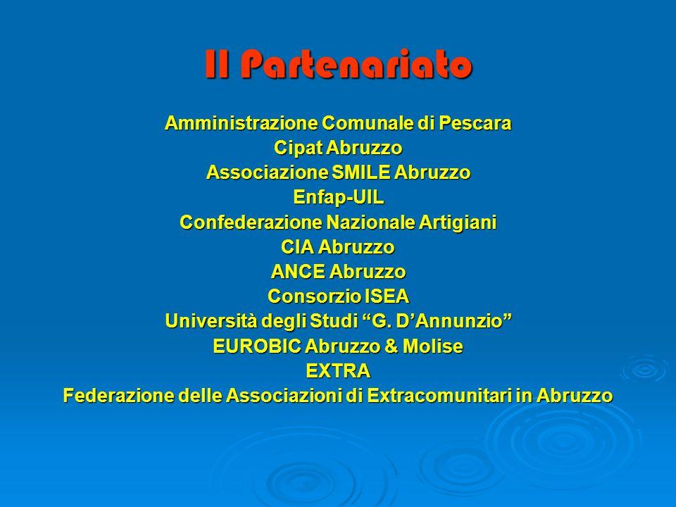 Il Partenariato Amministrazione Comunale di Pescara Cipat Abruzzo Associazione SMILE Abruzzo Enfap-UIL Confederazione Nazionale Artigiani CIA Abruzzo ANCE Abruzzo Consorzio ISEA Università degli Studi G.