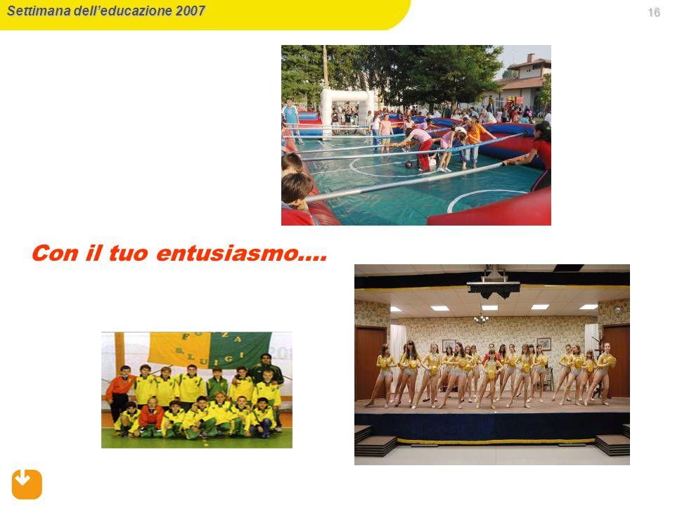 16 Settimana delleducazione 2007 Con il tuo entusiasmo….