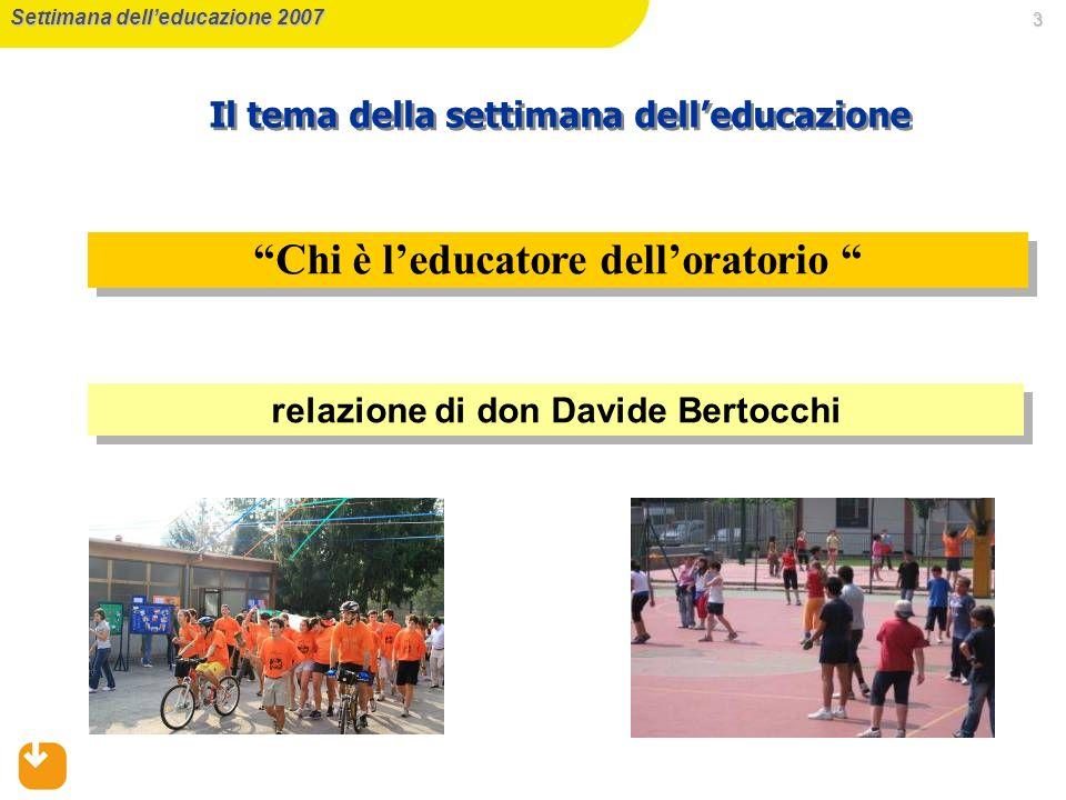 3 Chi è leducatore delloratorio Settimana delleducazione 2007 Il tema della settimana delleducazione relazione di don Davide Bertocchi