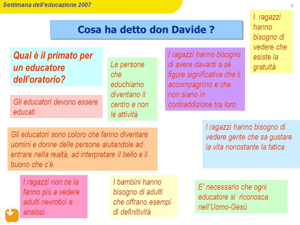4 Settimana delleducazione 2007 Cosa ha detto don Davide .
