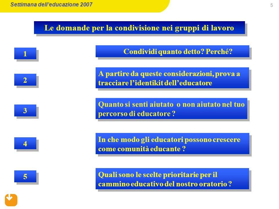 5 2 2 1 1 A partire da queste considerazioni, prova a tracciare lidentikit delleducatore Condividi quanto detto.