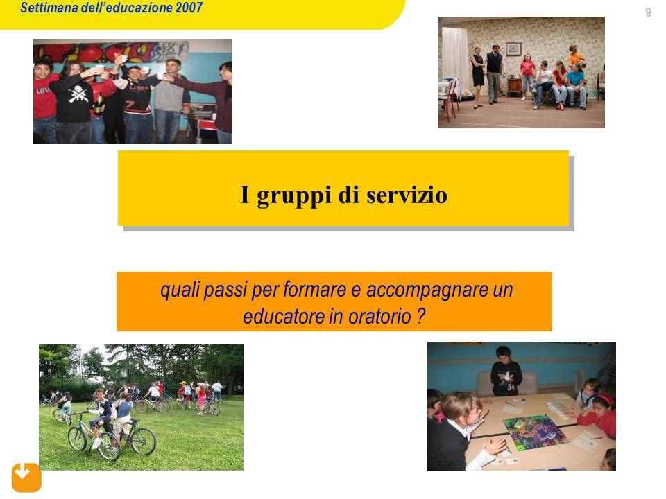 9 I gruppi di servizio Settimana delleducazione 2007 quali passi per formare e accompagnare un educatore in oratorio ?