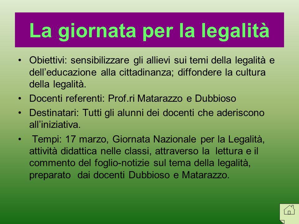 Obiettivi: sensibilizzare gli allievi sui temi della legalità e delleducazione alla cittadinanza; diffondere la cultura della legalità. Docenti refere
