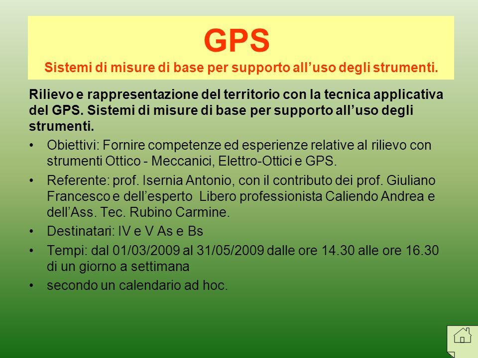 Rilievo e rappresentazione del territorio con la tecnica applicativa del GPS. Sistemi di misure di base per supporto alluso degli strumenti. Obiettivi