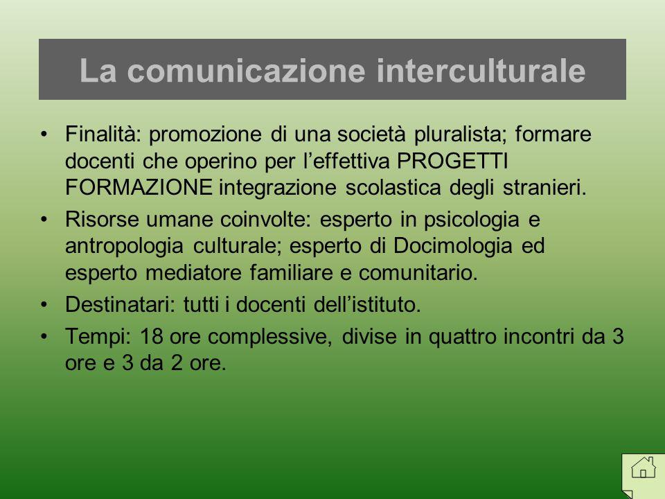 Finalità: promozione di una società pluralista; formare docenti che operino per leffettiva PROGETTI FORMAZIONE integrazione scolastica degli stranieri
