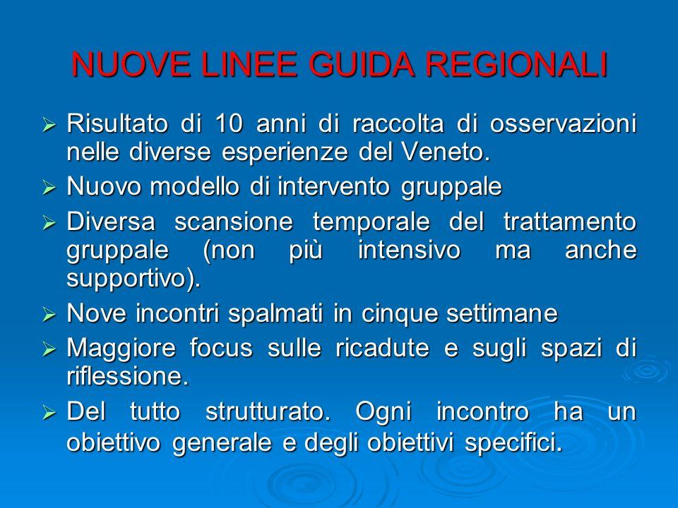 NUOVE LINEE GUIDA REGIONALI Risultato di 10 anni di raccolta di osservazioni nelle diverse esperienze del Veneto. Risultato di 10 anni di raccolta di