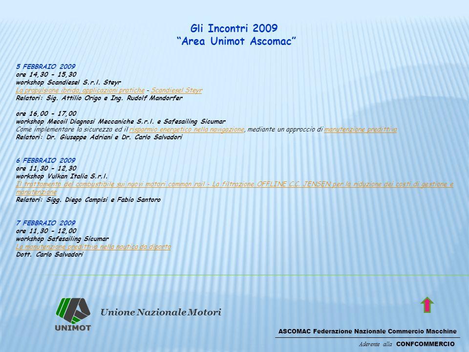 Unione Nazionale Motori ASCOMAC Federazione Nazionale Commercio Macchine Aderente alla CONFCOMMERCIO Gli Incontri 2009 Area Unimot Ascomac 5 FEBBRAIO 2009 ore 14,30 - 15,30 workshop Scandiesel S.r.l.