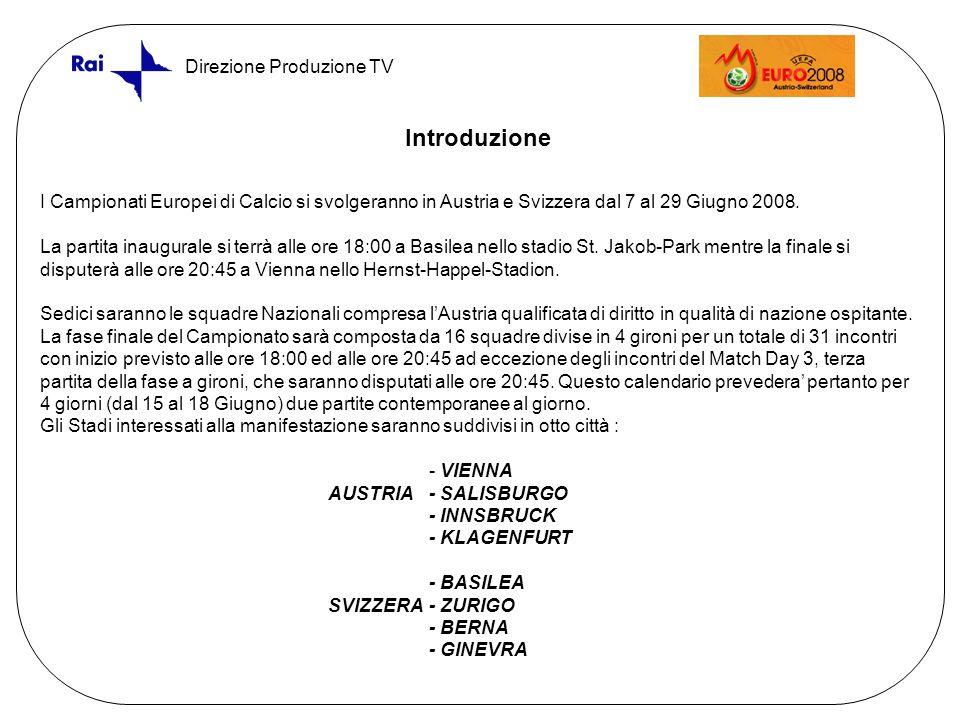 Direzione Produzione TV Introduzione I Campionati Europei di Calcio si svolgeranno in Austria e Svizzera dal 7 al 29 Giugno 2008.