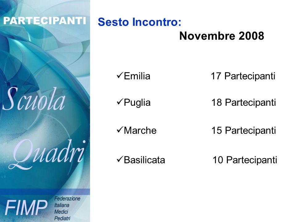 Sesto Incontro: Novembre 2008 Emilia 17 Partecipanti Puglia 18 Partecipanti Marche 15 Partecipanti Basilicata 10 Partecipanti