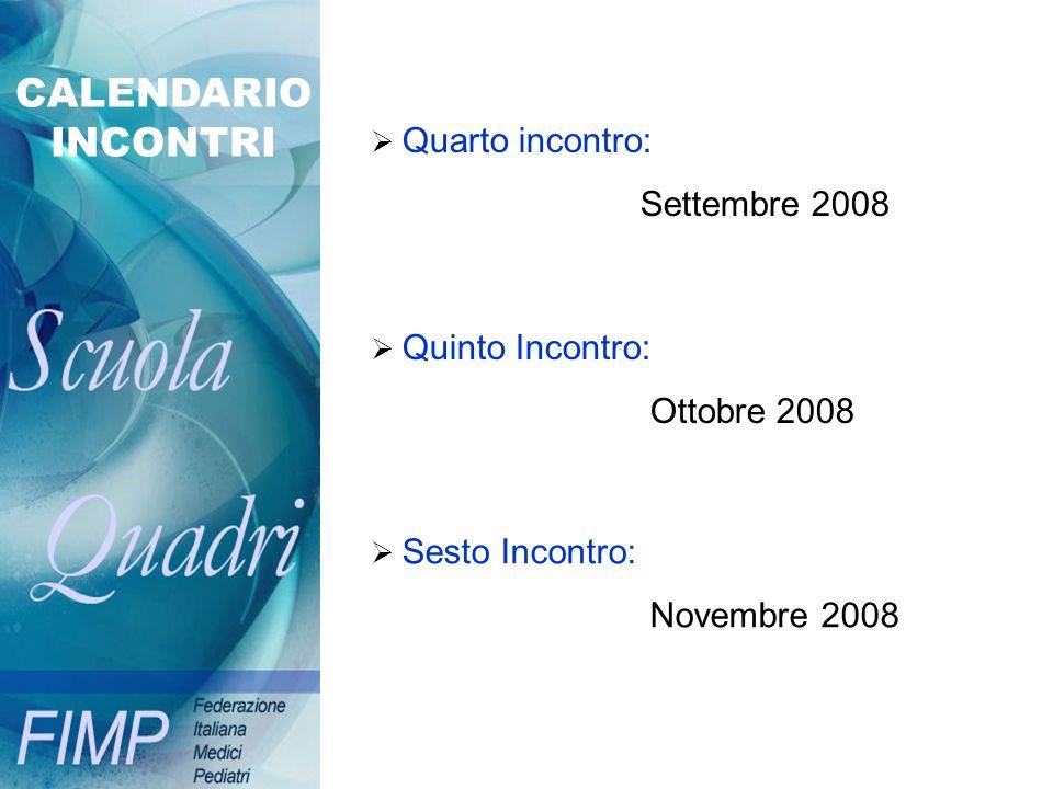 CALENDARIO INCONTRI Quarto incontro: Settembre 2008 Quinto Incontro: Ottobre 2008 Sesto Incontro: Novembre 2008