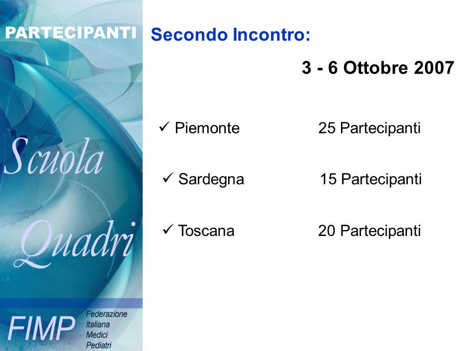 Secondo Incontro: 3 - 6 Ottobre 2007 Piemonte 25 Partecipanti Sardegna 15 Partecipanti Toscana 20 Partecipanti PARTECIPANTI