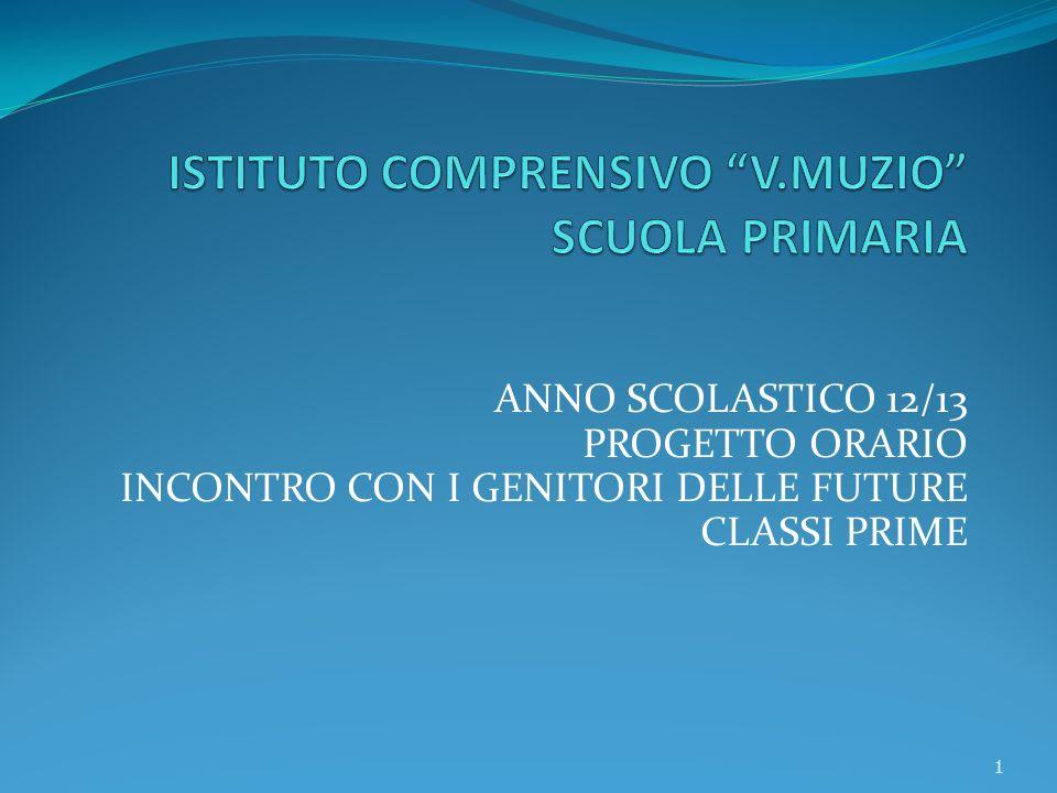 ANNO SCOLASTICO 12/13 PROGETTO ORARIO INCONTRO CON I GENITORI DELLE FUTURE CLASSI PRIME 1
